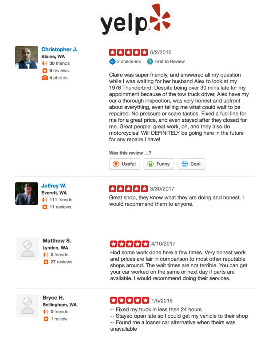 Bellingham Auto Repair Shop Yelp Reviews
